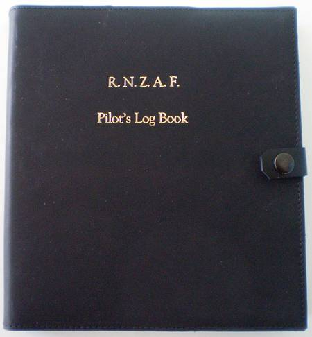 Leather Cover - Black w/- Gold Embossing - for RNZAF Pilot Log Book