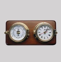 "Plastimo 3"" Tidetimer Clock and Barometer -Brass- On Wood"