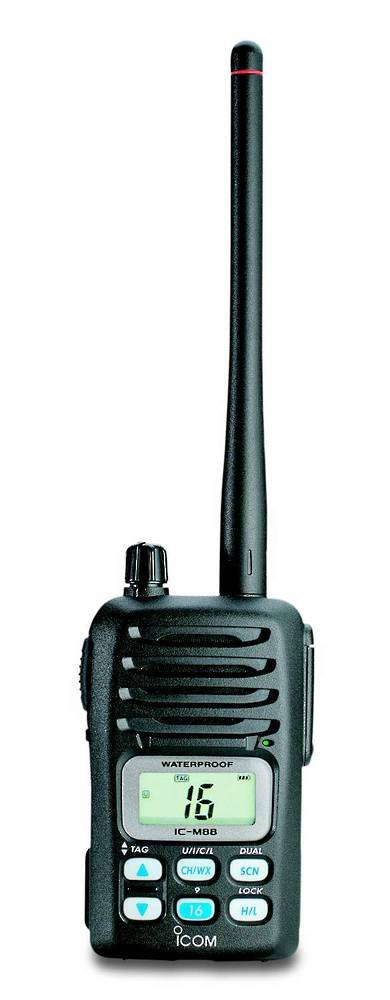 ICOM IC-M88 VHF Marine Transceiver, Waterproof, Marine & Land Frequencies, Li-Ion Battery